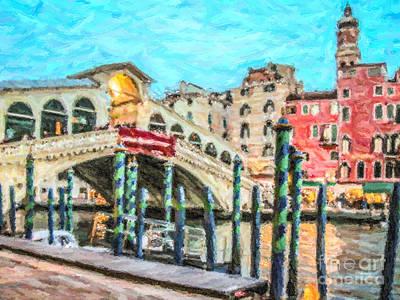 Rialto Bridge Digital Art - Rialto Bridge by Liz Leyden