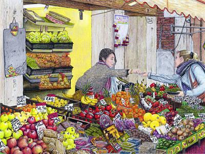 Kiwi Drawing - Rialto Market by Albert Puskaric