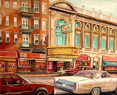 Montreal Storefronts Painting - Rialto Theatre Vintage Movie Marquee Fifties Cars Classic Signs Montreal Paintings Cspandau Art by Carole Spandau