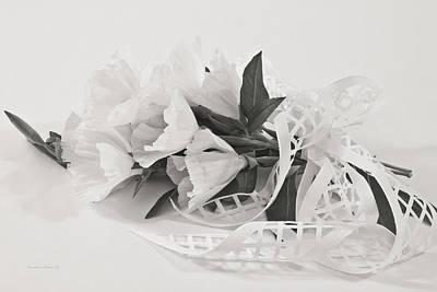 Flower Still Life Photograph - Ribboned White Godetia Flowers by Sandra Foster