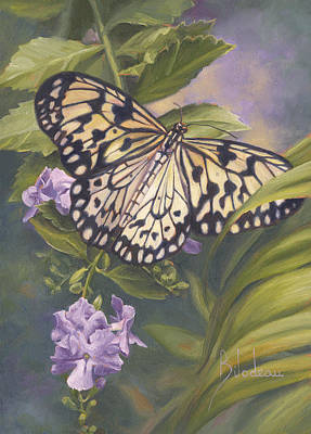 Rice-paper Painting - Rice Paper Butterfly by Lucie Bilodeau
