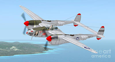 Warbird Mixed Media - Richard Bong's P-38 Lightning Marge by Walter Colvin
