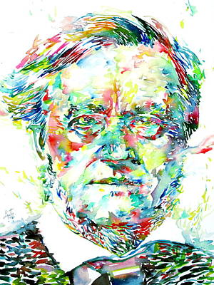 Parsifal Painting - Richard Wagner Watercolor Portrait by Fabrizio Cassetta