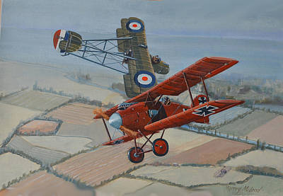 Painting - Richtofen And Hawker Combat by Murray McLeod