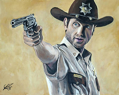 Police Painting - Rick Grimes by Tom Carlton