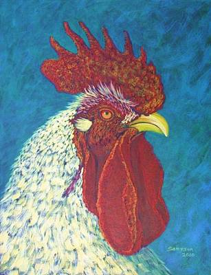 Splashy Art Painting - Ricky The Rooster by Cynthia Sampson