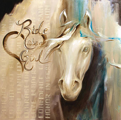 Horse Painting - Ride Like A Girl by Dina Dargo