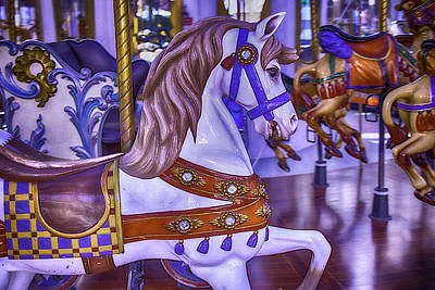 Antique Carousel Photograph - Ride The White Horse by Garry Gay