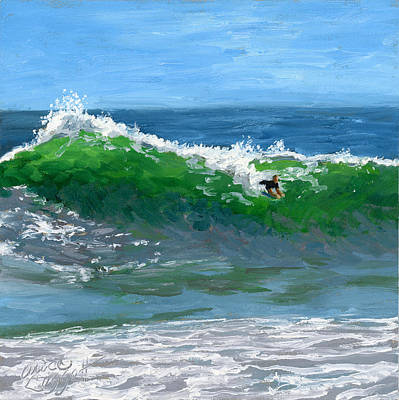 Surfboards Painting - Ride The Wild Wedge by Alice Leggett