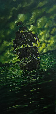 Pirate Ship Painting - Riders On The Storm by Joel Tesch