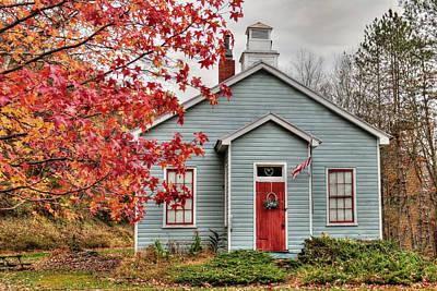 Old School Houses Digital Art - Ridge Road Schoolhouse by Lori Deiter
