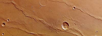 Ridges And Craters Print by European Space Agency/dlr/fu Berlin (g. Neukum)