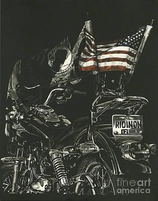 Harley Drawing - Ridin On Magazine July 2012 Cover by Matthew Jarrett