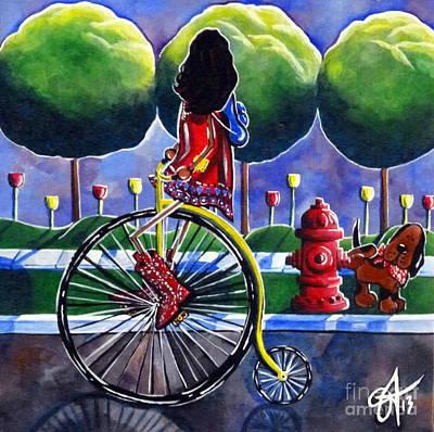 Riding Grandmas Bike Print by Jackie Carpenter