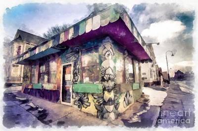 Pearl Digital Art - Riding High Skateboard Shop Watercolor by Edward Fielding