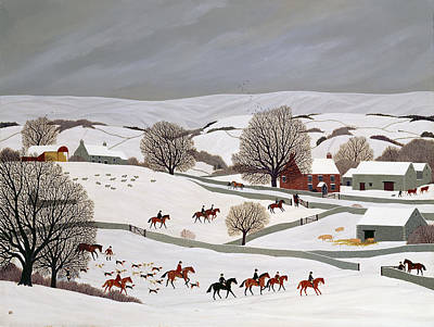 Dogs In Snow Painting - Riding In The Snow by Vincent Haddelsey
