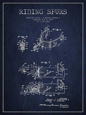 Riding Spurs Patent Drawing From 1959 - Navy Blue Print by Aged Pixel