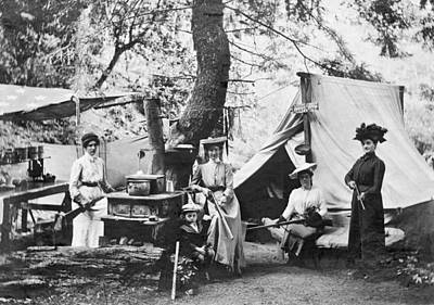 Rifle Women In Camp Print by Underwood Archives