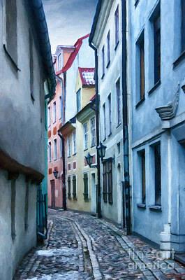 Tourism Digital Art - Riga Narrow Street Painting by Antony McAulay