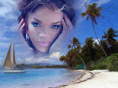 Rap Digital Art - Rihanna by Anthony Caruso