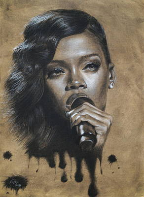 Singer Drawing - Rihanna Dripping Talent  by Fithi Abraham