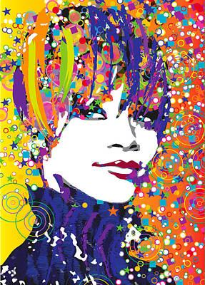 Rihanna Digital Art - Rihanna In Blue by Irina Effa