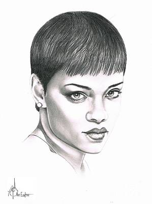 Famous People Drawing - Rihanna by Murphy Elliott
