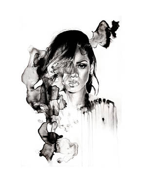 Ink Drawing - Rihanna Stay by Molly Picklesimer