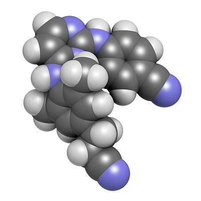 Rilpivirine Hiv Drug Molecule Print by Molekuul
