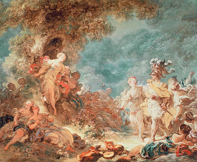 Rinaldo In The Garden Of The Palace Of Armida Print by Jean-Honore Fragonard