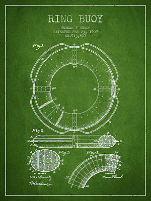 Donuts Digital Art - Ring Buoy Patent From 1909 - Green by Aged Pixel