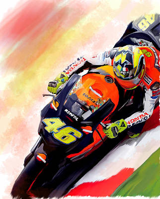 Valentino Rossi By David Pucciarelli Drawing - Ring Of Fire  Valentino Rossi by Iconic Images Art Gallery David Pucciarelli