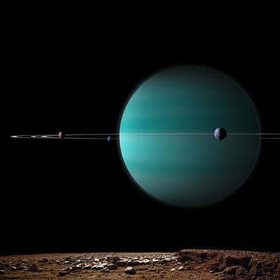 Exoplanet Mixed Media - Ringed World No.5 by Marc Ward