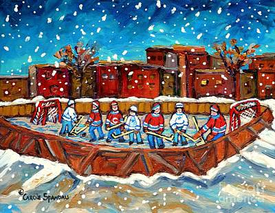 Montreal Winter Scenes Painting - Rink Hockey Game Little Montreal Superstars Montreal Memories Snowy City Scene Carole Spandau by Carole Spandau