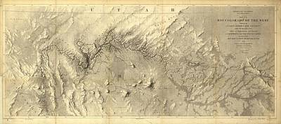 Grand Canyon Drawing - Rio Colorado Of The West Antique Map - 1858 by Eric Glaser