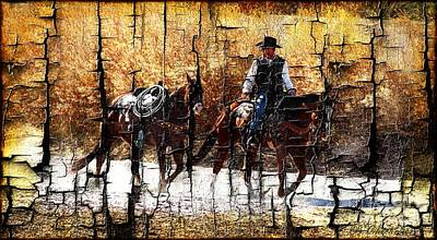 Las Cruces Digital Art - Rio Cowboy With Horses  by Barbara Chichester
