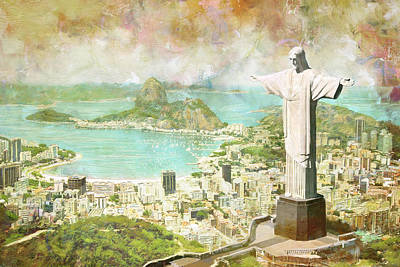 Town Painting - Rio De Janeiro by Catf