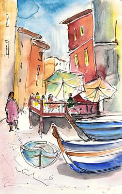 Travel Sketch Drawing - Riomaggiore In Italy 01 by Miki De Goodaboom