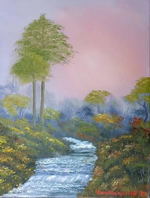Phthalo Green Painting - Rippling Stream by Dorothy Merritt