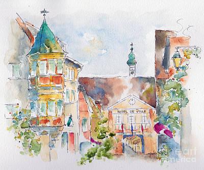 Riquewhir Hotel De Ville Print by Pat Katz