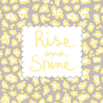 Rise And Shine- Yellow And Grey Print by Linda Woods