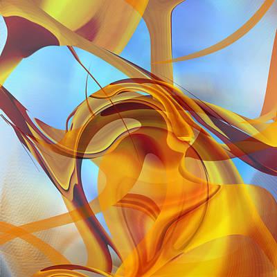 Abstract Digital Art - Rising Into Sky Blue by Roy D Erickson