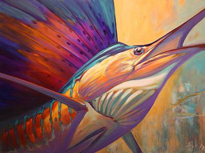 Savlen Painting - Rising Son - Contemporary Sailfish Painting by Savlen Art