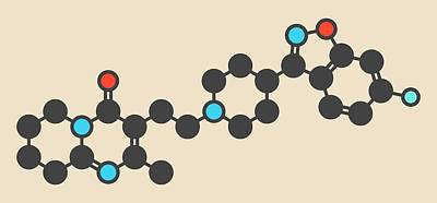 Adrenaline Photograph - Risperidone Antipsychotic Drug Molecule by Molekuul