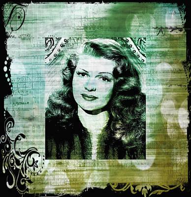 Rita Hayworth - Green Beige Print by Absinthe Art By Michelle LeAnn Scott