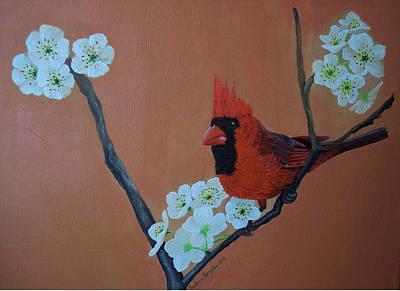 Rita's Redbird For Kevin Print by Barbara Samples