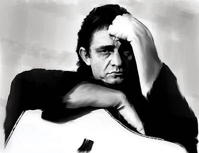 Johnny Cash Drawing - Rite Of Truth  Johnny Cash by Iconic Images Art Gallery David Pucciarelli
