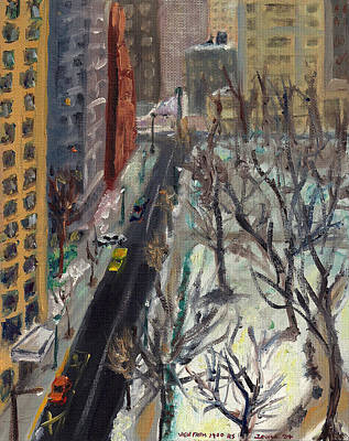 Philly Painting - Rittenhouse Square In The Snow by Joseph Levine