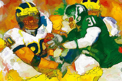 University Of Michigan Painting - Rivals In State by John Farr