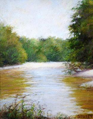 Lake Painting - River And Trees by Nancy Stutes